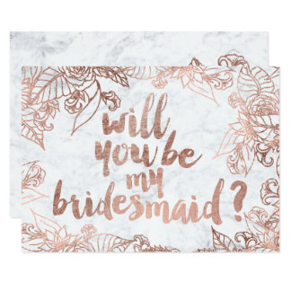 Rose gold floral marble Will you be my Bridesmaid Card