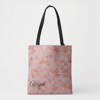 Rose Gold Floral Personalized Tote Bag