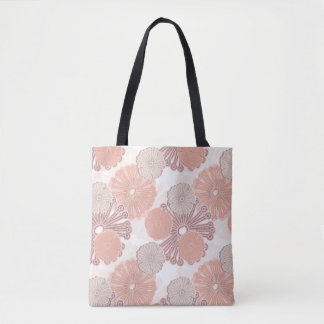 Rose Gold Flower Pattern Tote Bag