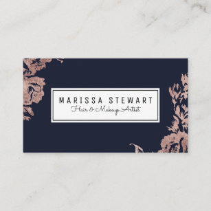Navy blue and gold business cards zazzle au rose gold flowers navy blue business card colourmoves