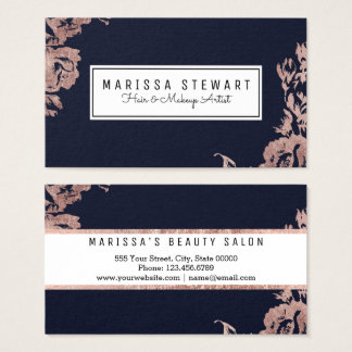 Rose Gold Flowers Navy Blue Business Card