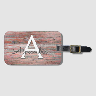 Rose Gold Foil and Rustic Wood Monogram & Initial Luggage Tag