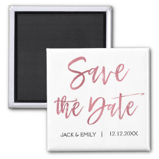 Rose Gold Foil and White  Save the Date Magnet