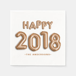 Rose Gold Foil Balloons Happy 2018 | New Year Paper Napkin
