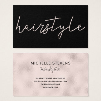 Rose gold foil black hair stylist typography business card