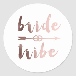 rose gold foil bride tribe arrow wedding rings round sticker