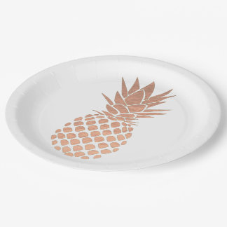 rose gold foil effect pineapple design paper plate