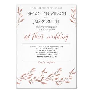 Rose Gold Foil Effect Wedding Invitations
