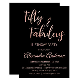 Rose Gold Foil Fifty and Fabulous Card