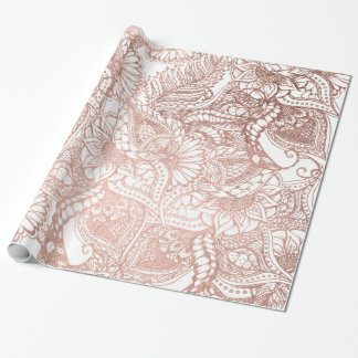 Rose gold foil hand drawn floral pattern girly