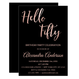 Rose Gold Foil Hello 50 Fiftieth Birthday Party Card