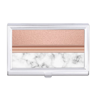 Rose Gold Foil on Marble Business Card Holder