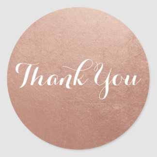 Rose Gold Foil Photo Thank You Classic Round Sticker