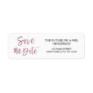 Rose Gold Foil Save the Date Return Address Return Address Label