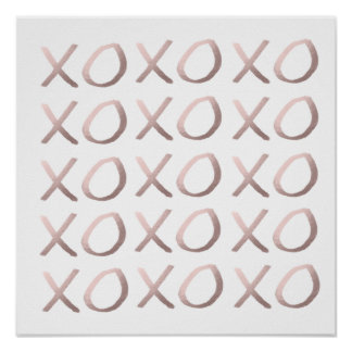 rose gold foil typography hugs and kisses xoxo poster