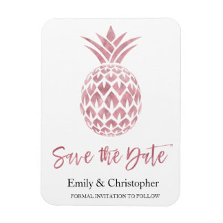 Rose Gold Foil Wedding Save the Date Pineapple Magnet