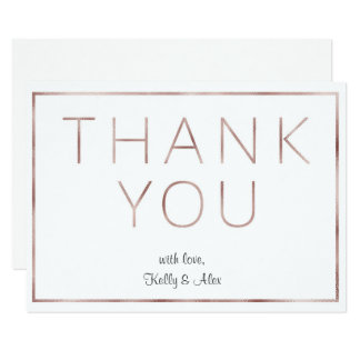 Rose Gold Foil Wedding Thank You Card