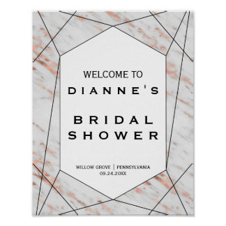 Rose Gold Geometric Marble Bridal Shower Welcome Poster