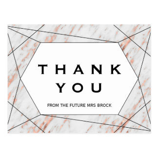 Rose Gold Geometric Marble Thank You Postcard