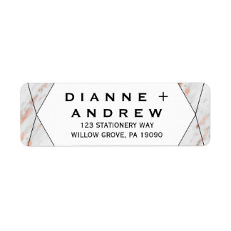Rose Gold Geometric Marble Wedding Return Address Label