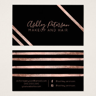 Rose gold geometric stripes hair makeup typography business card