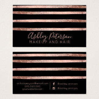 Rose gold geometric stripes makeup hair typography business card