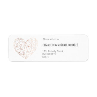 Rose gold Geometric wedding | Return addess label Return Address Label