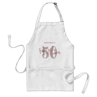 Rose Gold Glitter 50 & Fabulous Typography Standard Apron