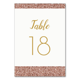 Rose Gold Glitter and Gold Table Number Flat Card