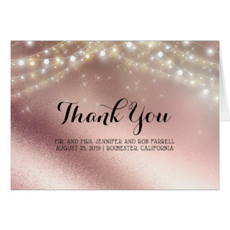 Rose Gold Glitter and Lights Wedding Thank You Card
