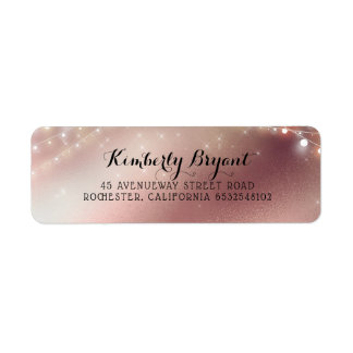 Rose Gold Glitter and String Lights Return Address Label