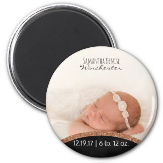 Rose Gold Glitter   Baby Photo Birth Announcement Magnet