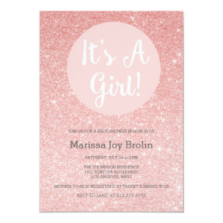Rose Gold Glitter Baby Shower Invitation