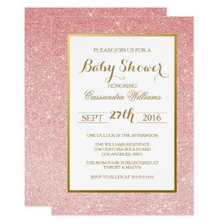 Rose Gold Glitter - Baby Shower Invitation