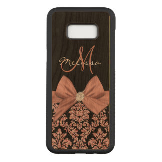Rose gold glitter Black Damask, Bow, Diamond Carved Samsung Galaxy S8+ Case