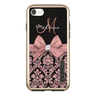 Rose gold glitter Black Damask, Bow, Diamond Incipio DualPro Shine iPhone 8/7 Case