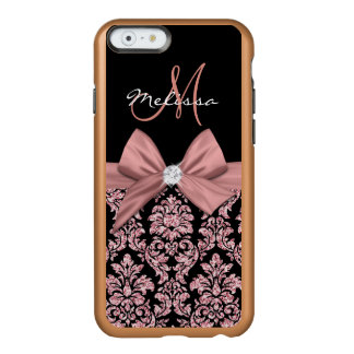 Rose gold glitter Black Damask, Bow, Diamond Incipio Feather® Shine iPhone 6 Case