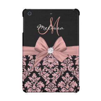 Rose gold glitter Black Damask, Bow, Diamond iPad Mini Cover
