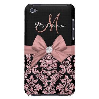 Rose gold glitter Black Damask, Bow, Diamond iPod Case-Mate Cases