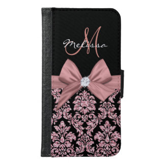 Rose gold glitter Black Damask, Bow, Diamond Samsung Galaxy S6 Wallet Case