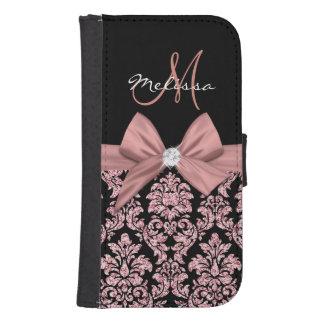 Rose gold glitter Black Damask, Bow, Diamond Samsung S4 Wallet Case