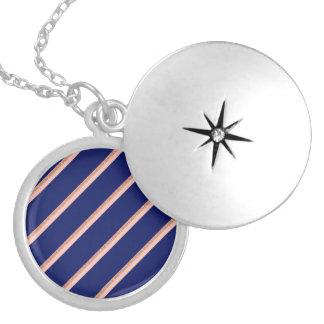 rose gold glitter, blue pastel pink stripes locket necklace