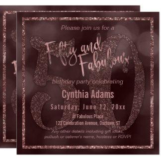 Rose Gold Glitter & Bokeh 50 & Fabulous Typography Card