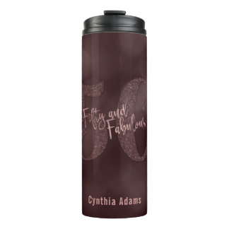 Rose Gold Glitter & Bokeh 50 & Fabulous Typography Thermal Tumbler