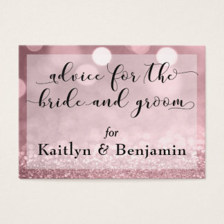 Rose Gold Glitter Bokeh Advice for Bride & Groom Business Card