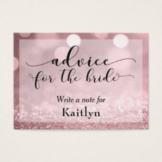 Rose Gold Glitter Bokeh Advice for the Bride Business Card