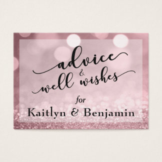 Rose Gold Glitter Bokeh Advice & Well Wishes Business Card