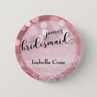 Rose Gold Glitter Bokeh & Junior Bridesmaid 6 Cm Round Badge
