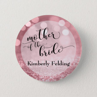 Rose Gold Glitter Bokeh Mother of the Bride 6 Cm Round Badge