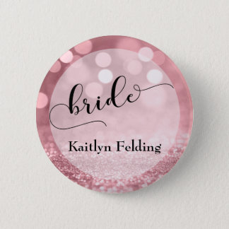 Rose Gold Glitter Bokeh & Typography Bride 2 6 Cm Round Badge